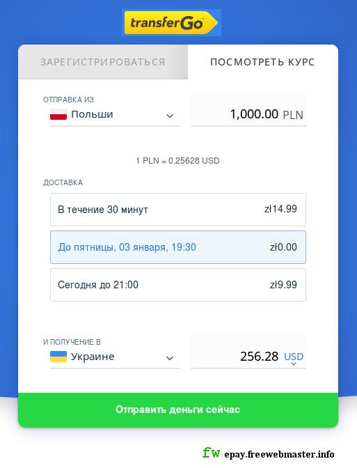 Курс перевода средств в TransferGo