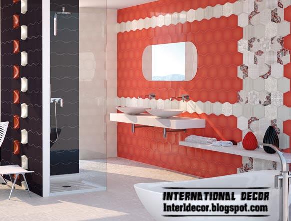 contemporary red wall tiles designs for modern bathroom wall schemes - Modern Bathroom Wall Tile Designs