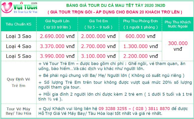 Gia Tour Ca Mau Tet Duong Lich 2020