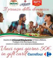 Logo Anticipazione ''Il pranzo della domenica'': vinci ogni giorno gift card Carrefour da 50€