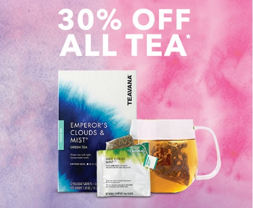 Starbucks Store 30% Off All Teavana and Tazo Tea Sale