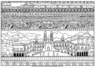 spanish architectures adults architecture coloring pages