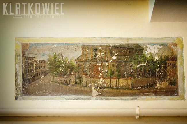 Ostrów Wielkopolski: obraz z widokiem na przedwojenny kościół parafialny