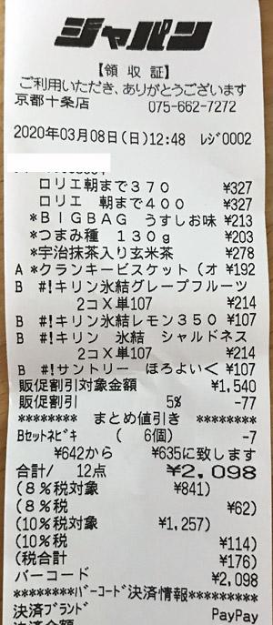 ジャパン 京都十条店 2020/3/8 のレシート