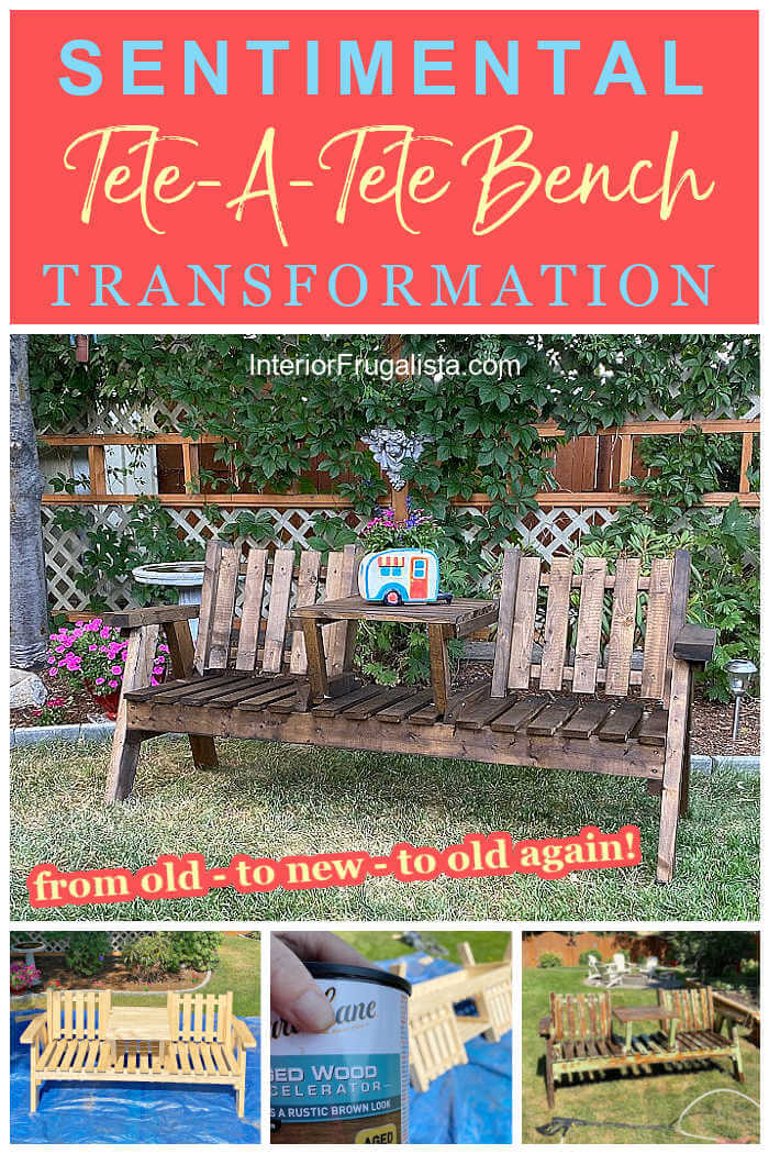A full-circle journey of a sentimental 30 year old damaged wooden tete-a-tete bench and how we made it look brand new, then old and weathered again. #teteateteseatingoutdoor #diyoutdoorfurniture #diyoutdoorbench
