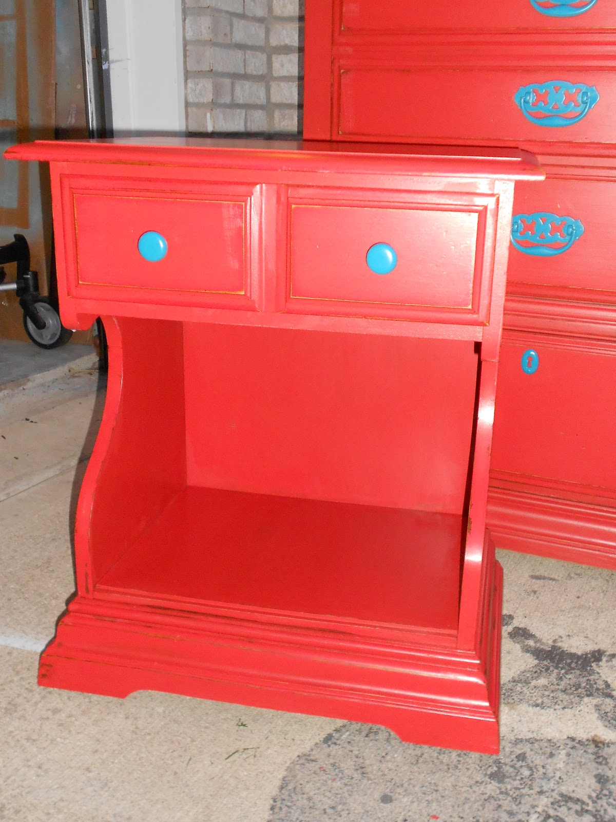 Lila S Pockets Red Nightstand