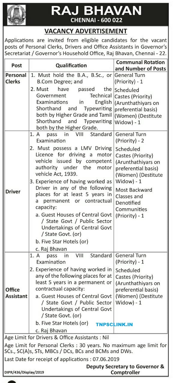 Chennai Raj Vacancy 2019: Clerks, Drivers and Office Assistants Posts