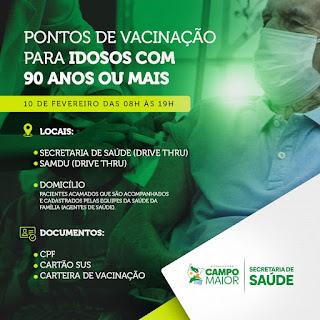 COVID-19: Veja os locais de vacinação de idosos em Campo Maior