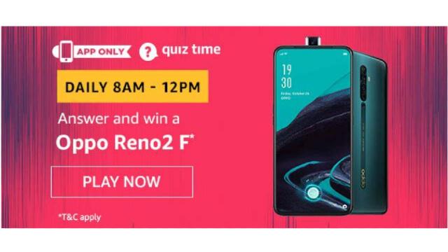Amazon Quiz Answers Today 2 February win - OPPO Reno 2 F