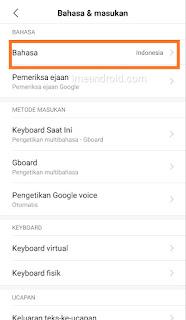 Pengaturan ganti bahasa di Hp Xiaomi