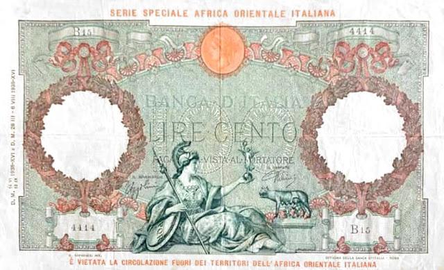 100 ليرة LIRE CENTO الاحتلال الايطالي لشرق افريقيا والحبشة 1938 ميلادي