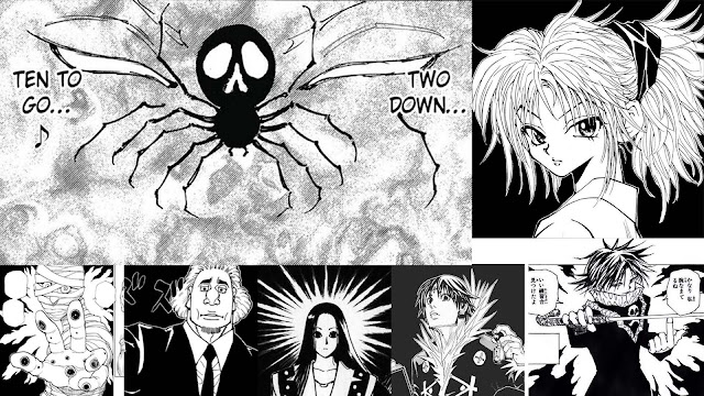 Spider with 2 lost limbs and 10 remaining and creepy face of hisoka with images of Machi, Bonolenov, Illumi, Chrollo and Feitan from Hunter x Hunter manga