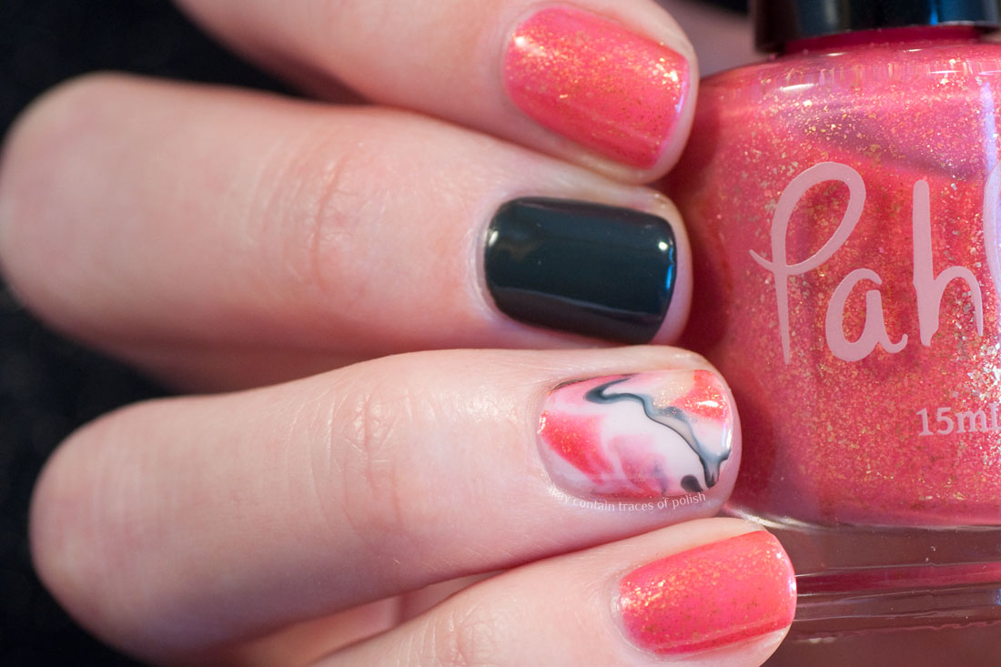 Coral Swirl Marble Nail Art Design