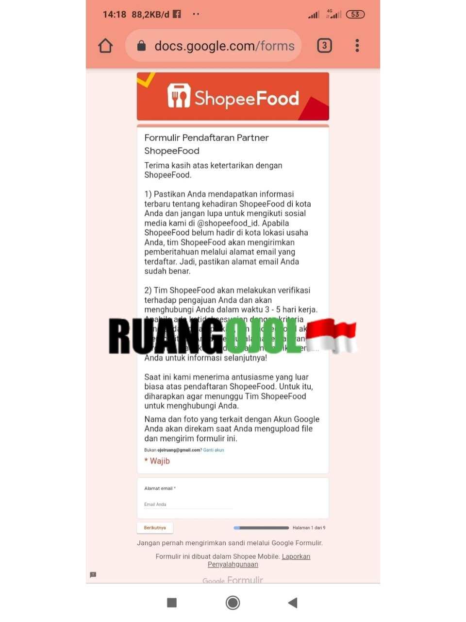 Link Pendaftaran Shopeefood Mitra