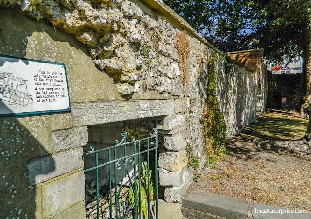 Restos da muralha romana de Winchester, Inglaterra