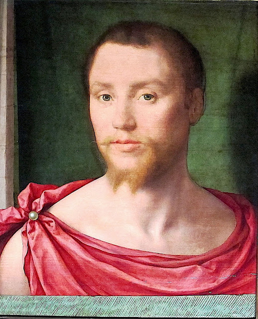 Felix Chrétien  dit  Bartholomeus Pons (actif de 1518 a 154 ) Portrait d'homme habillé à l'antique, 1535-1550. Huile sur panneau de bois, 48x39 cm Musée du Louvre, Paris