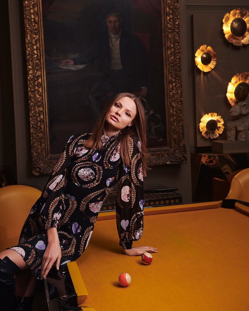 Magdalena Frackowiak wears retro prints in Temperley London spring 2020 campaign