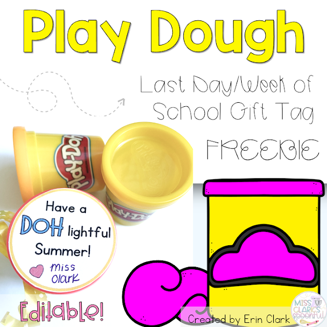 Play Doh End of Year Gift Tag for Students