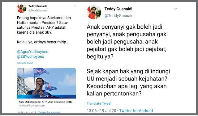 Teddy Gusnaidi Dulu bully AHY, sekarang diam soal gibran