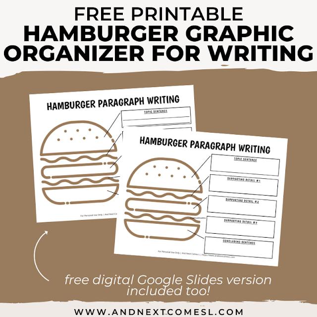 Free hamburger graphic organizer printable for writing