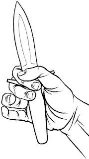 Упор на рукоятке ножа в качестве «рулевого колеса»