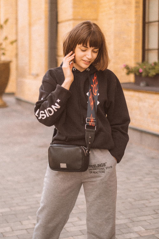 COLLUSION unisex logo hoodie in black