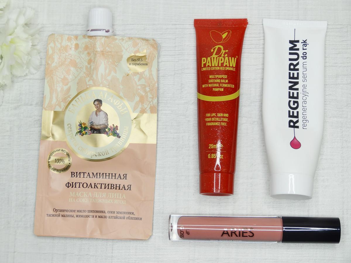 Maseczka witaminowa Bania Agafii, Regenerum, regeneracyjne serum do rąk, Błyszczyk Makeup Revolution, Dr Paw Paw