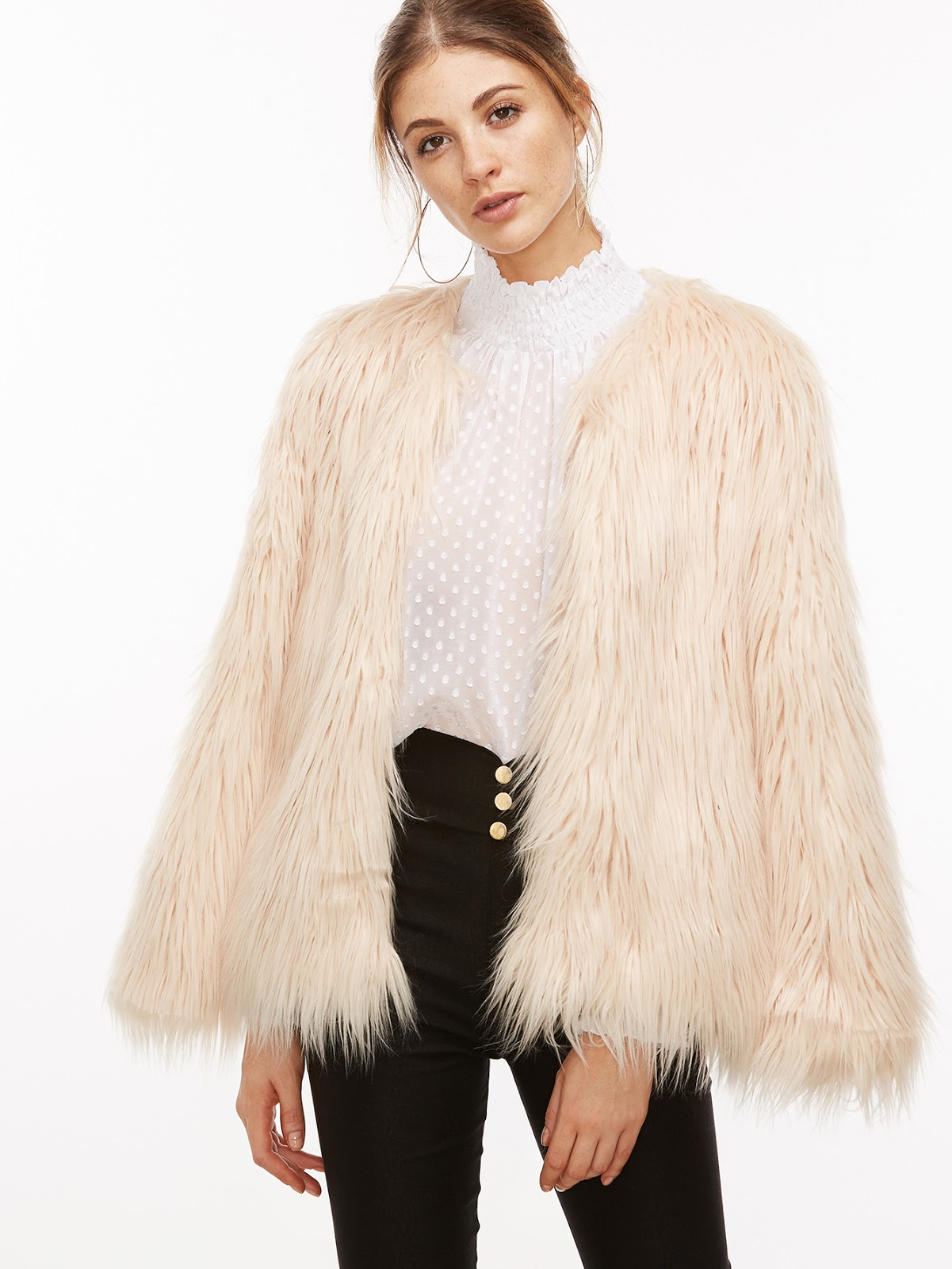 cheap pastel pink faux fur
