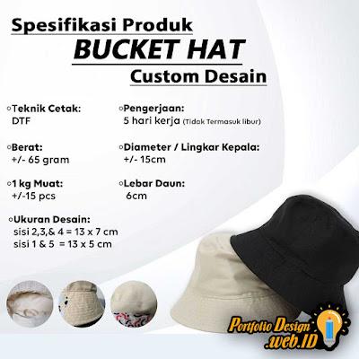 Spesifikasi Produk topi Bucket Hat Custom Desain