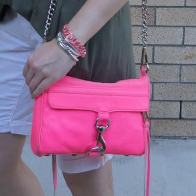 Rebecca Minkoff neon pink mini MAC and matching Marc by Marc Jacobs enamel turnlock bracelet | awayfromblue