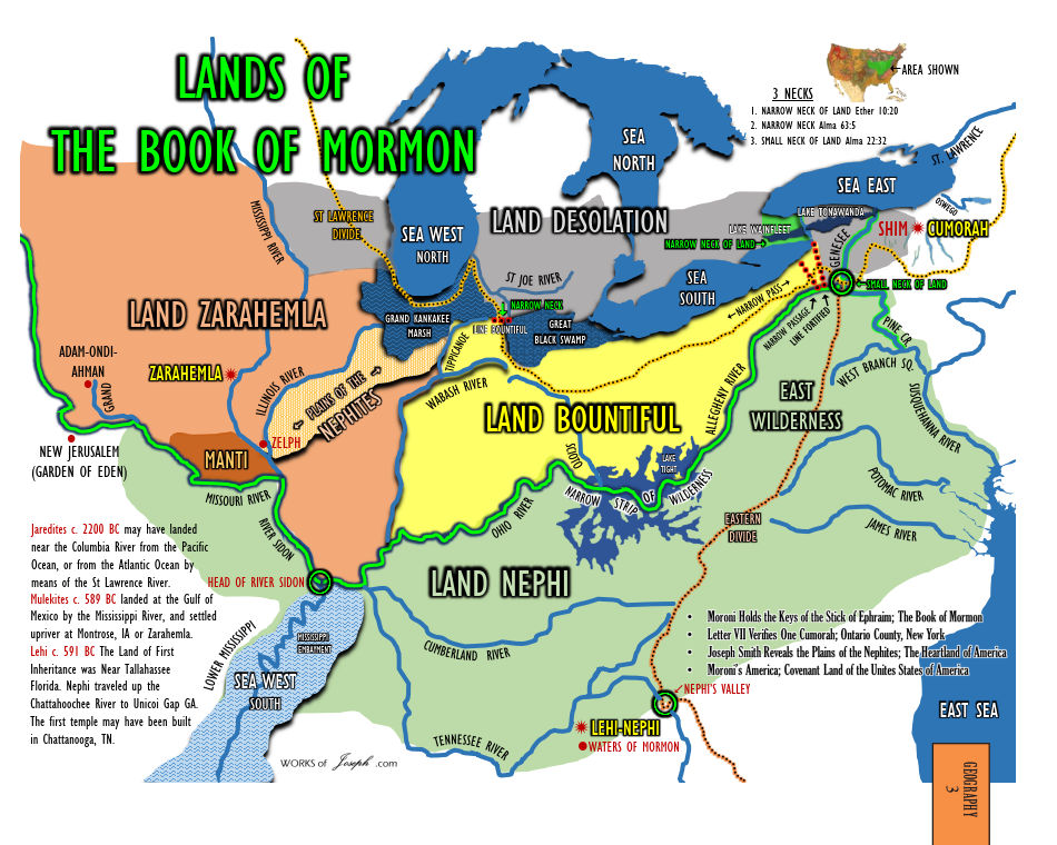 Moroni's America - Maps Edition, map 3 Lands of the Book of Mormon