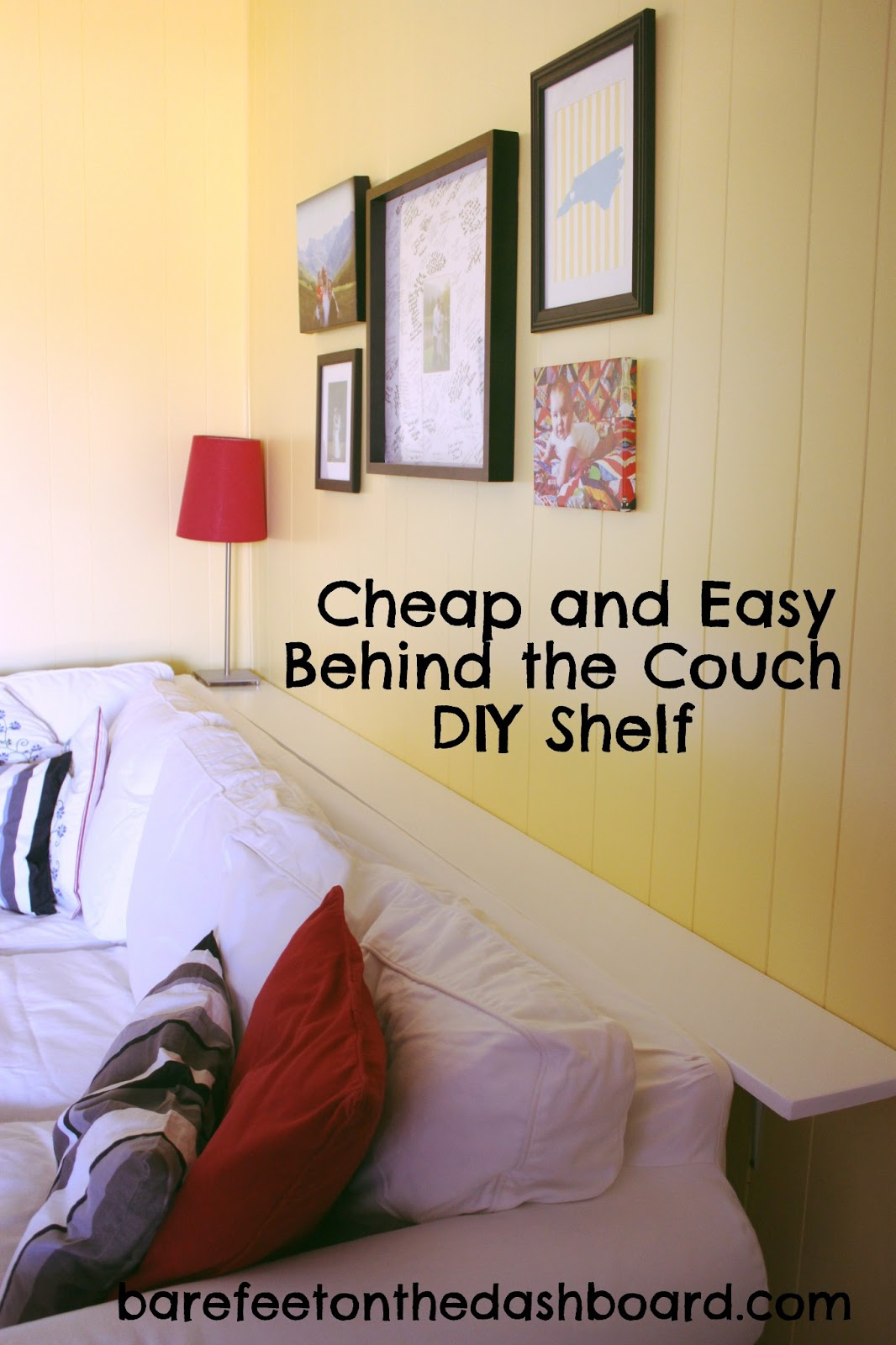 Duck creek diy cheap and easy but sturdy behind the couch shelf