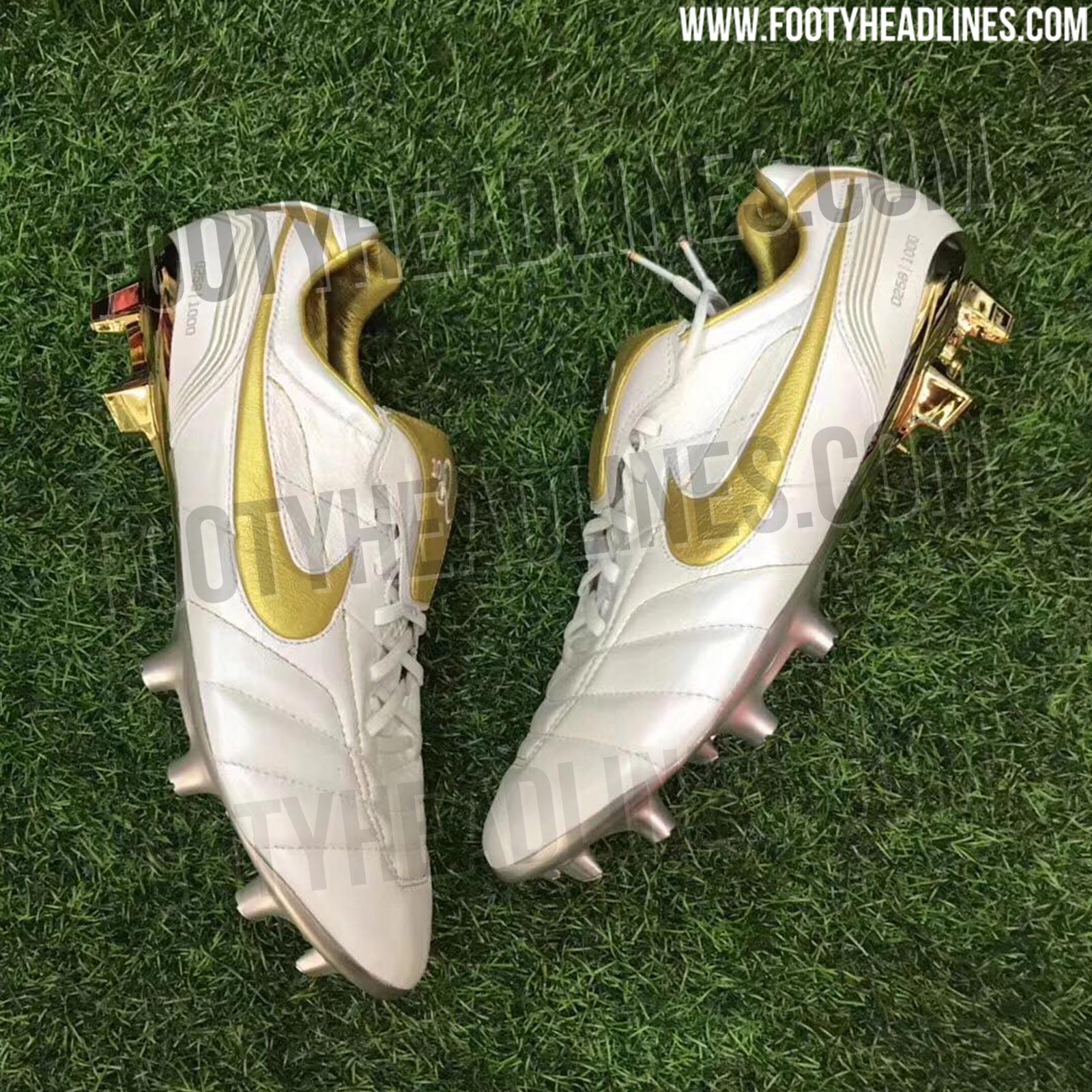quality design 62cd3 b9a01 White / Gold Nike Tiempo Legend Ronaldinho 2018 Boots Leaked ...