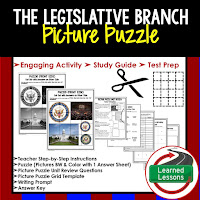 Legislative Branch, Civics Test Prep, Civics Test Review, Civics Study Guide, Civics Interactive Notebook Inserts, Civics Picture Puzzles