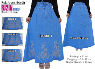 Grosir rok jeans panjang model bordir