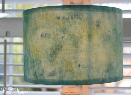 Sea Glass Inspired Painted Fabric Lampshade Idea