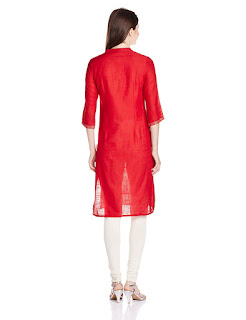 Rs. 539 Aurelia Cotton Three Quarter Sleeve Banded Collar Red Kurta from Fashiondiya