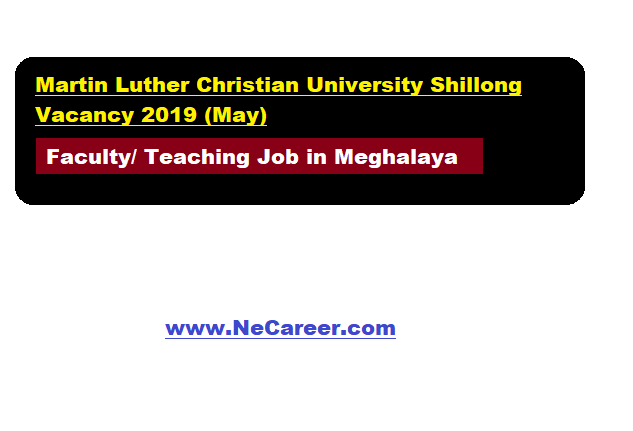 Martin Luther Christian University Shillong Recruitment 2019 (May)