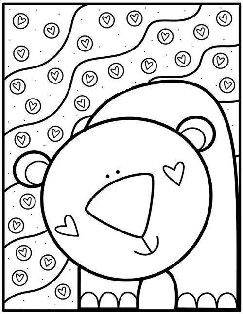 Tranh tô màu con gấu xinh