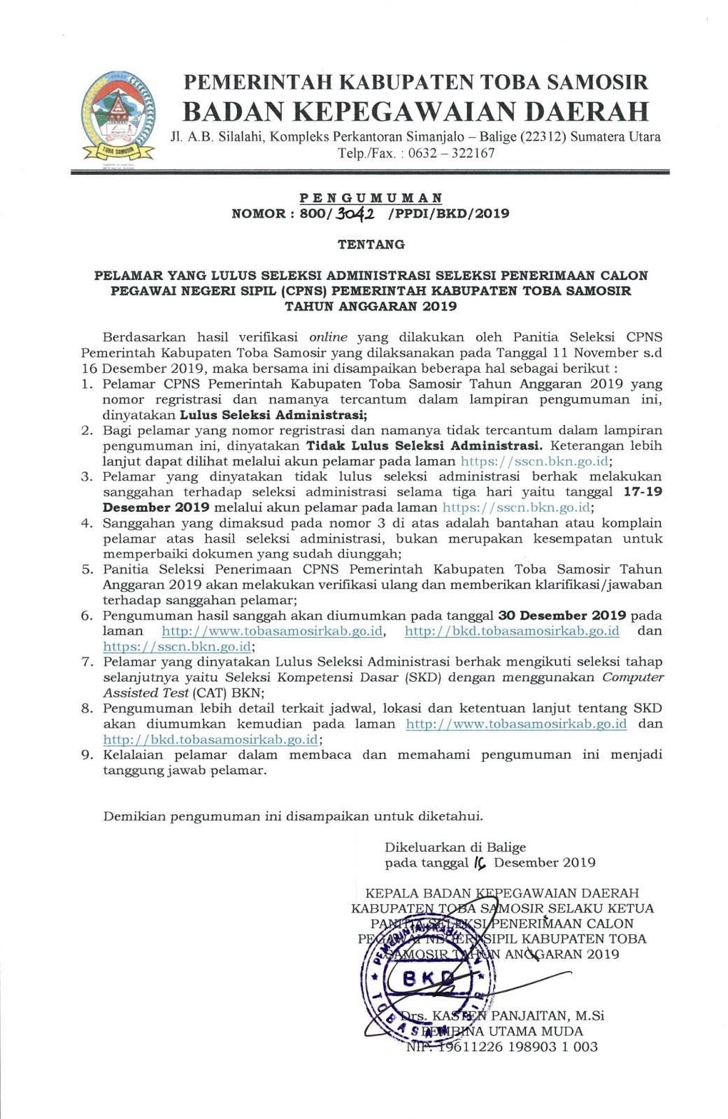 Hasil Verifikasi Online Seleksi CPNS Pemerintah Kabupaten Toba Samosir Tahun 2019