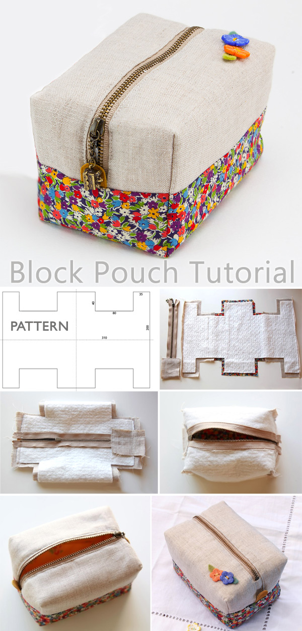 Block Zipper Pouch Tutorial