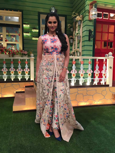 Sania Mirza in Floral Appliquéd Kalidar with Printed Pants