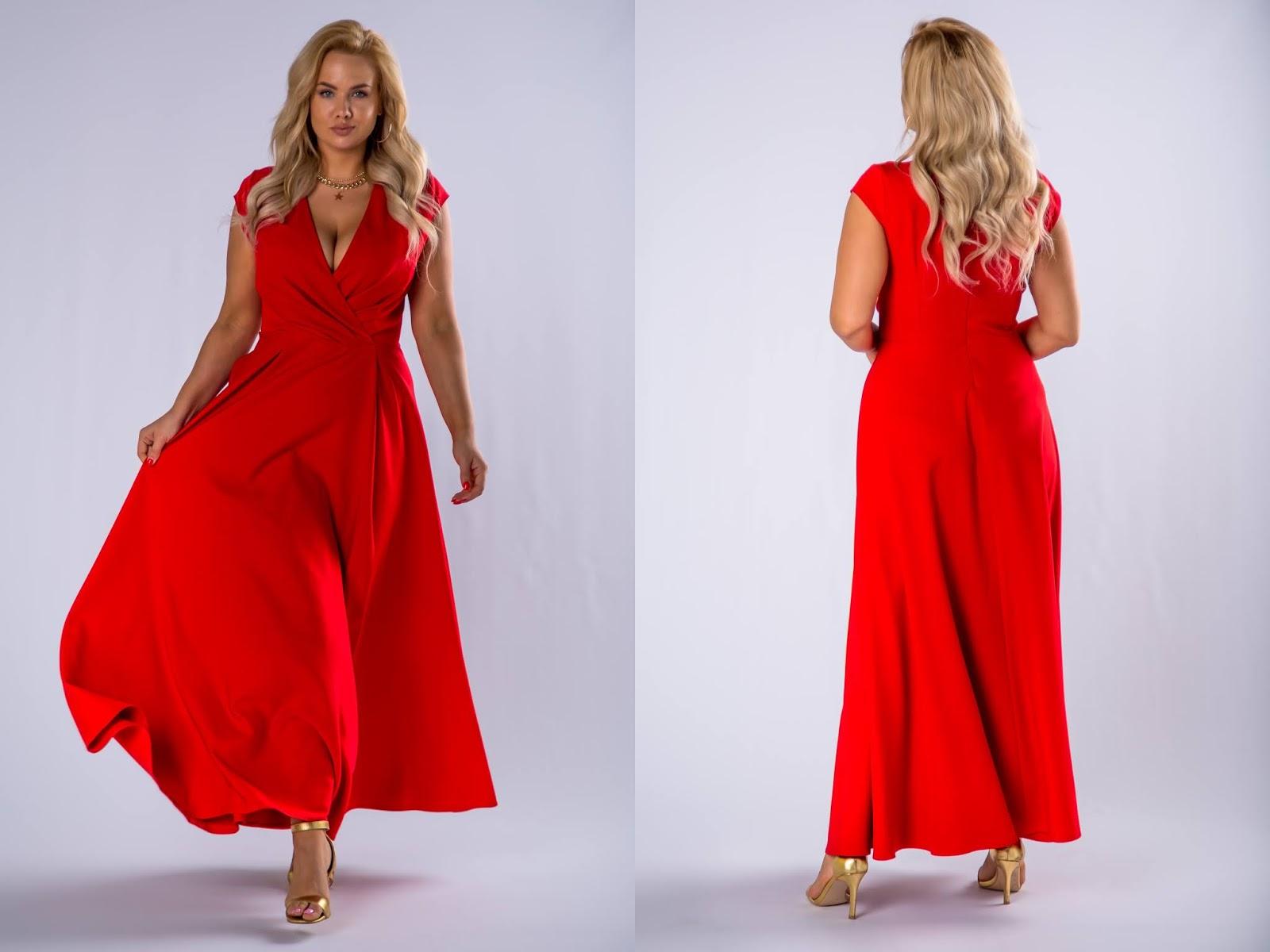 Elegancka sukienka maxi z kopertowym dekoltem  ptakmoda.com