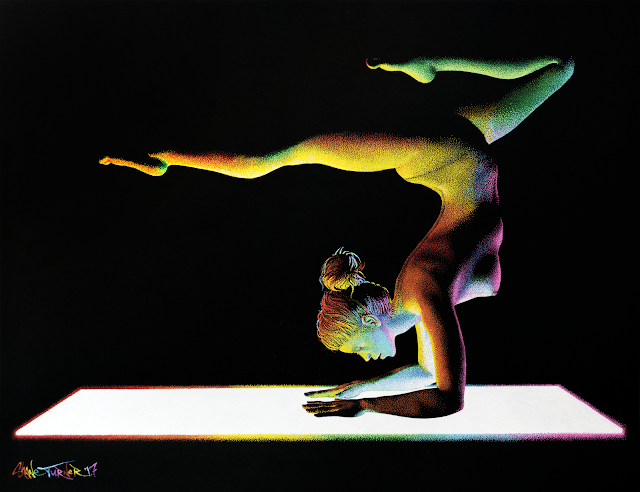 Multicolour, Rainbow, pointillism paint drawing of a woman doing yoga in the dark being lit from underneath by yoga mat. Scorpion pose.