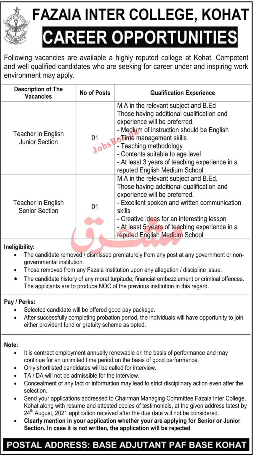 Fazaia Inter College Kohat Jobs 2021 in Pakistan
