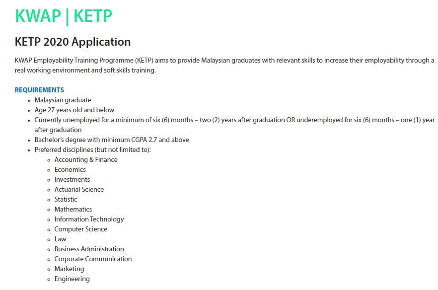 Permohonan untuk Program KWAP Employability Training Programme (KETP)