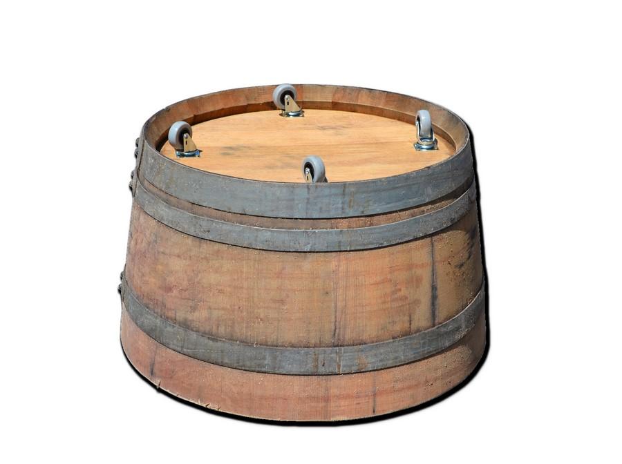ruedas en maceta barril de madera de roble