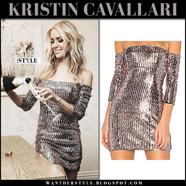Kristin Cavallari in silver metallic sequin off shoulder mini dress nbd atlantis what she wore