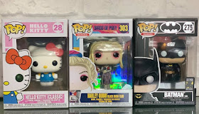 3 Funko Pop Vinyl figures - Hello Kitty, Harley Quinn, Batman