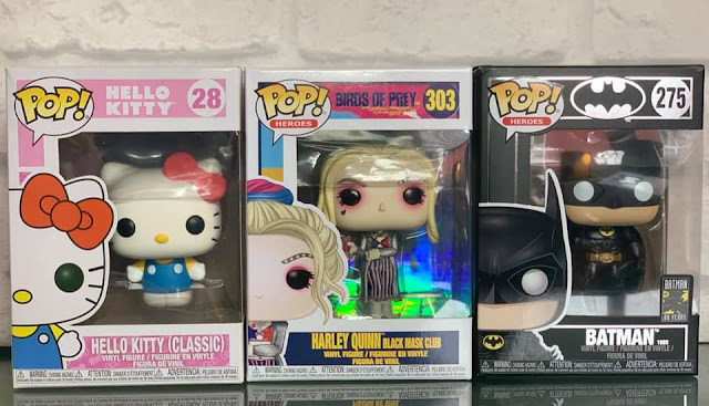 3 Funko Pop Vinyl figures - Hello Kitty, Harley Quinn, Batman